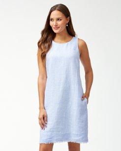 Crystalline Waters Linen Shift Dress