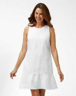 Shimmer Stripe Linen-Blend Dress