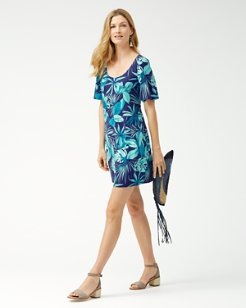 Cabana Colores Tambour Flounce-Sleeve Dress