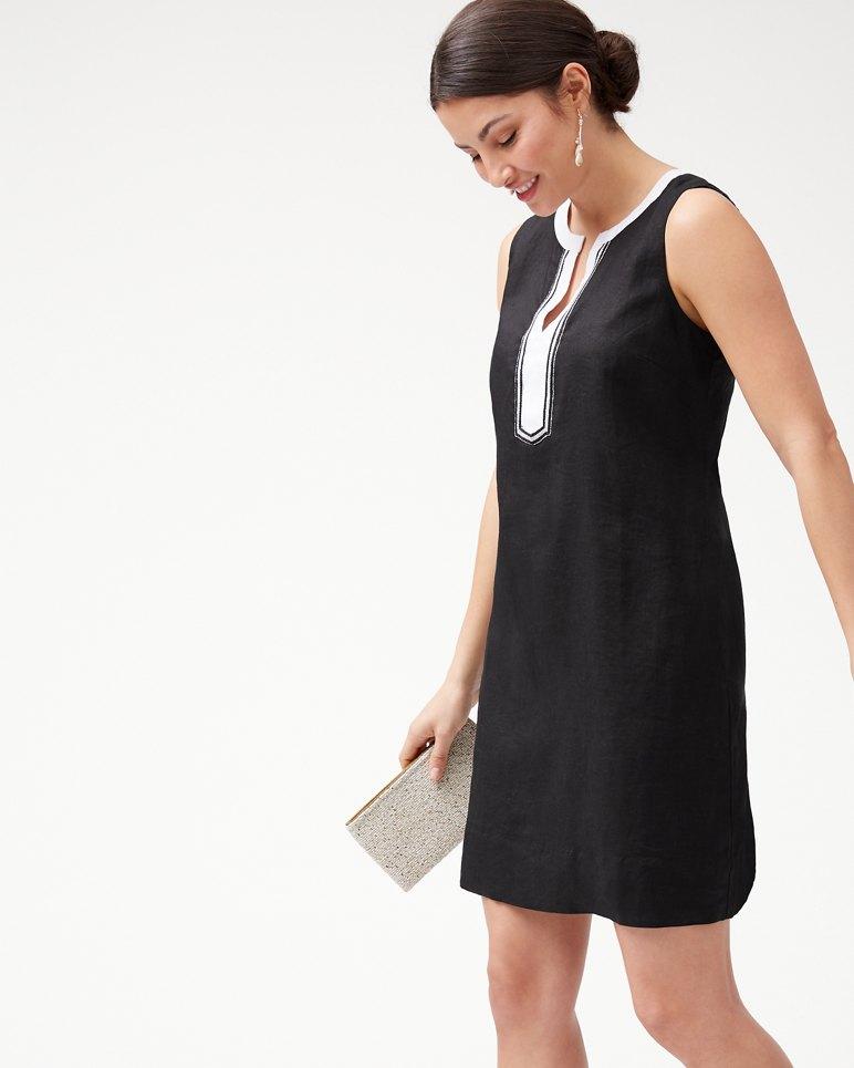 Main Image for Two Palms Embellished Linen Shift Dress