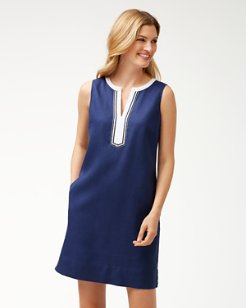 Two Palms Embellished Linen Shift Dress