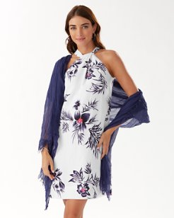 Seraphine Floral Linen-Blend Halter Dress