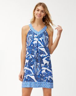 Mosaic Palm Linen Dress