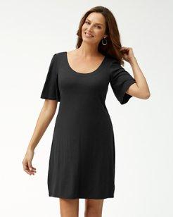 Tambour Flounce-Sleeve Dress