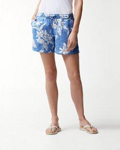 Hibiscus Hiatus Linen 5-Inch Easy Shorts