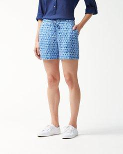 Batik Tile Linen 5-Inch Shorts