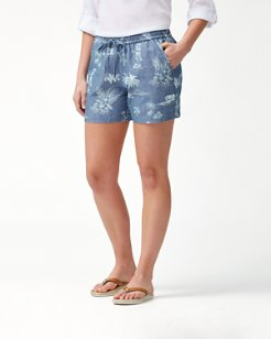 Hula Hut 5-Inch Linen-Blend Shorts