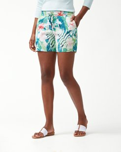 Hibiscus Hues Linen 5-Inch Shorts