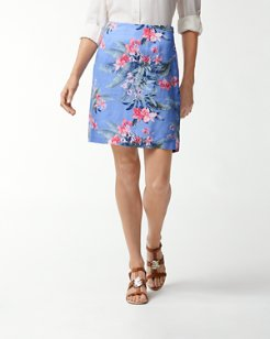 Madeira Blooms Linen Skirt