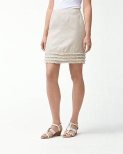 Two Palms Fringed Linen Skirt