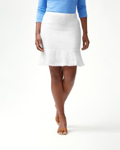 Two Palms Short Linen Flounce Skirt