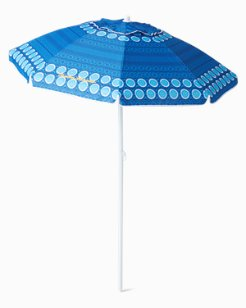 6' Blue Printed Beach Umbrella