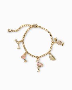 Flamingo Fun Charm Bracelet With Swarovski® Crystals