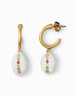 Cowrie Hoop Earrings With Swarovski® Crystals