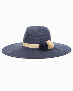 Pompom Wide-Brim Hat