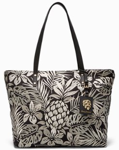 Embroidered Pineapple Patch Tote