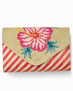 Hibiscus Stripe Envelope Clutch