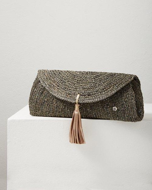Islamora Lux Crocheted Raffia Clutch