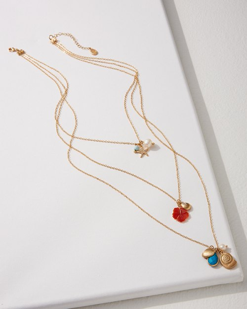 Triple Necklace With Shells & Hibiscus
