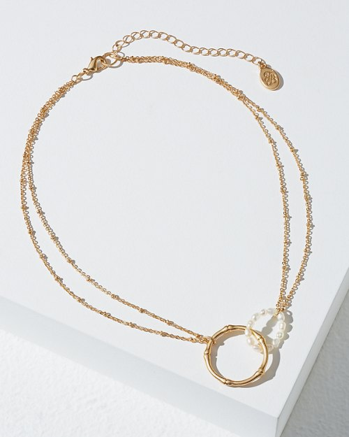 Double Loop Bamboo and Pearl Necklace