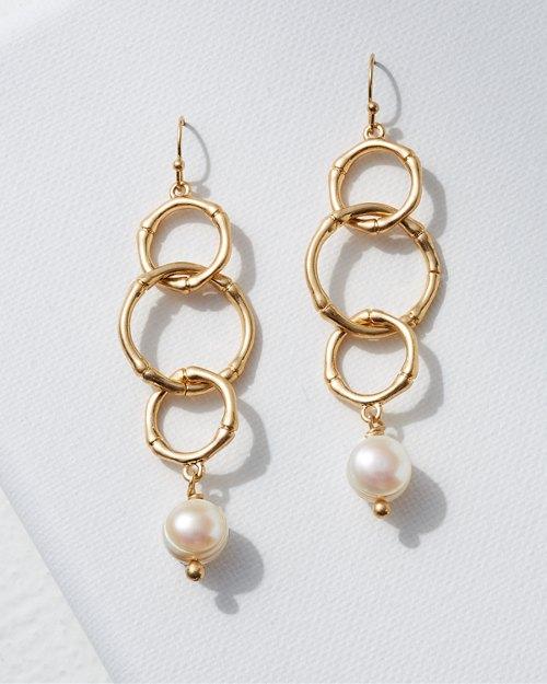 Triple Loop Bamboo and Pearl Earrings