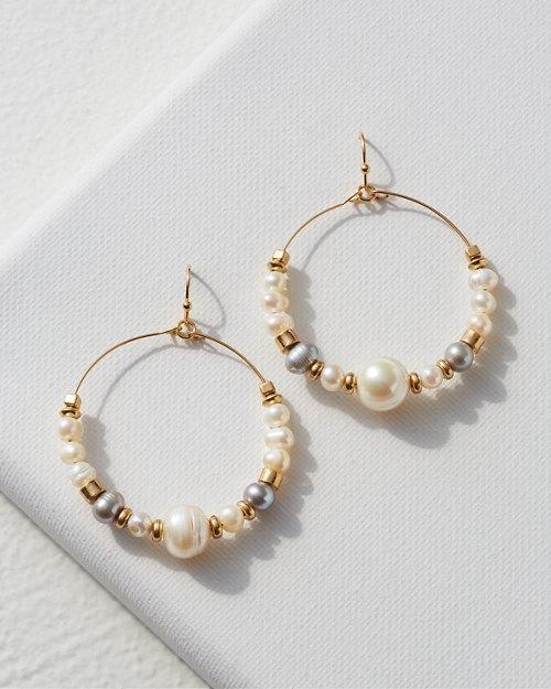 Large Round Pearl Hoop Earrings