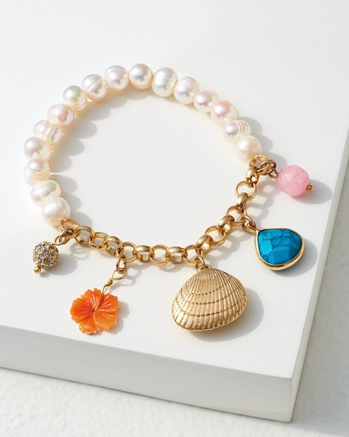 Charm Bracelet With Shells & Pearls