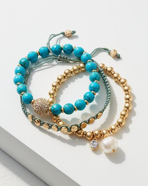 Turquoise, Pearl, & Gunmetal Bracelet Set