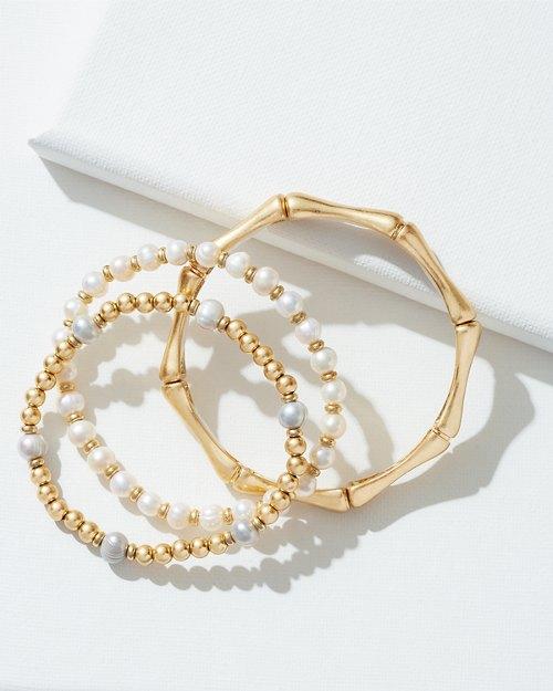 3-Bracelet Set - Bamboo Pearl Mix