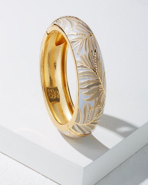 White Palm Frond Large Enamel Bracelet