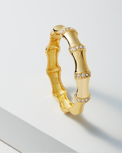 Large Rhinestone Gold Bamboo Bracelet