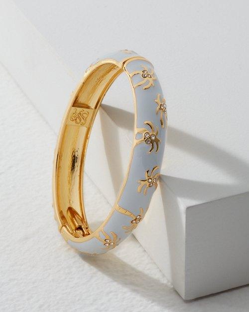 Small Gold Palm Tree Enamel Bracelet